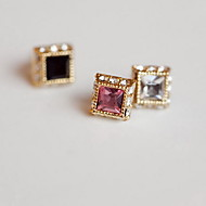 Earring / Square Stud Earrings Jewelry Women Fashion Casual Alloy 1 pair Black / White / Pink