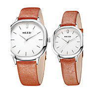 KEZZI Couple Montre Bracelet Montre Décontractée / Quartz Cuir Bande Cool Pour tous les jours Noir Blanc Marron