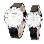KEZZI Couple Montre Bracelet Montre Décontractée Quartz / Cuir Bande Cool Pour tous les jours Noir Blanc Marron Blanc Noir Marron