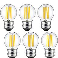 6W E26/E27 LED필라멘트 전구 G45 6 COB 560 lm 따뜻한 화이트 장식 V 6개