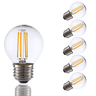 3.5 E26/E27 LED필라멘트 전구 G16.5 4 COB 350 lm 따뜻한 화이트 밝기 조절 AC 110-130 V 6개
