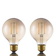 2W E26 Lampadine LED a incandescenza G80 2 COB 180 lm Ambra Intensità regolabile AC 110-130 V 2 pezzi