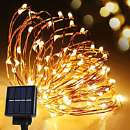 Solar Power String Light Waterproof LED Strip 10m 100LED Copper Wire lamp Warm White For Outdoor Christmas decoration lights