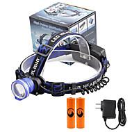 헤드램프 LED 2000 루멘 3 모드 Cree XM-L T6 18650 조절가능한 초점 컴팩트 사이즈 캠핑/등산/동굴탐험 일상용 사이클링 여행 멀티기능 등산 야외 알루미늄 합금 PVC