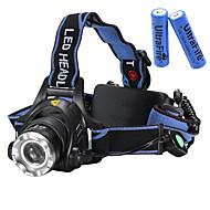 Torce frontali LED 2000 Lumens 3 Modo Cree XM-L T6 18650 CompattaCampeggio/Escursionismo/Speleologia Uso quotidiano Ciclismo Caccia