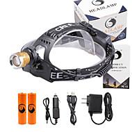 헤드램프 LED 3000 루멘 4.0 모드 Cree XP-E R2 18650 조절가능한 초점 컴팩트 사이즈 위조 감지기 캠핑/등산/동굴탐험 일상용 사이클링 사냥 여행 멀티기능 등산 야외 알루미늄 합금 PVC
