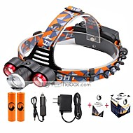 U'King® ZQ-X814R#1-EU Three Head 1*T6/2*XPE 5000LM Zoomable Multifunction 4Modes Headlamp Bike Light Kits with Safety Rear LED