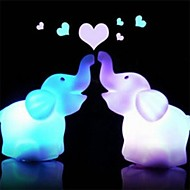2Pcs/Set    7 Color Changing Elephant Led Night Light Lamp With Battery Party Decor
