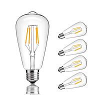 5pcs ST64 4W E27 LED Filament Bulbs COB Warm/Cool White Decorative Vintage Edison Light Bulb Retro Edison Bulbs  AC220-240V