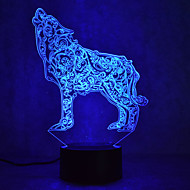 Christmas Wolf Touch Dimming 3D LED Night Light 7Colorful Decoration Atmosphere Lamp Novelty Lighting Christmas Light