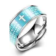 Concise Blue Color Titanium Steel Cross Figure Eternity Band Wedding Ring Jewellery for Women Accessiories