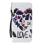 Dla samsung galaxy a3 a5 (2017) pokrywa pokrywa motyl miłość wzór pu materiał malowany portmonetka portmonetka all-inclusive telefonu