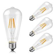 4W E26/E27 LED Filament Bulbs ST64 4 COB 400 lm Warm White Decorative AC 220-240 V 4 pcs