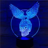 1pc touch 7-color skeleton eagle led lampe 3d lumière couleur vision stéréo coloré gradient lampe acrylique lumière de nuit vision