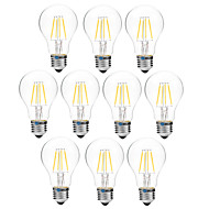 4W Lâmpadas de Filamento de LED A60(A19) 4 COB 300 lm Branco Quente Branco Regulável V 10 pçs