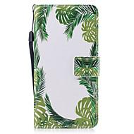 Para apple iphone 7 7 plus 6s 6 plus se 5s 5 capa capa verde folhas padrão pintado pu pele material cartão cartão stent carteira telefone