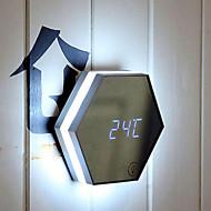 1pc 0.1w multifunction עם שעון מעורר מראה קוסמטיים הוביל מנורת לילה