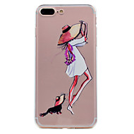 Para iphone 7 mais 7 capas de capa ultra-fina transparente padrão capa traseira casaco tm suave para menina 6s mais 6 mais 6 se 5s 5