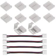 10pcs 4 pin llevado conector de tira para 5050 rgb llevó luces de tira y 4pcs llevó 5050 rgb banda de luz conector 4 conductores 10 mm de