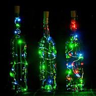 1pcs 2m 20 led cortiça em forma led noite estrelado luz cobre fio rolha vinho garrafa decoração lâmpada fresco quente branco colorido