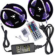 HKV® 1 Pcs 10M(2*5M) NO-Waterproof 5050 RGB 300LED RGB Strip Flexible Light 44Key IR Remote Controller 5A Power Supply AC 100-240V