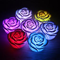 '1pc Rose Flower Led Light Night Changing 7 Colors Romantic Candle Light Lamp Miniinthebox