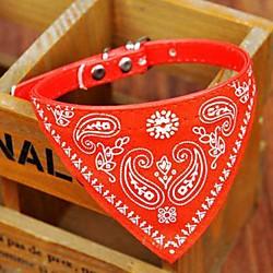 'Dog Collar Collar Bandana Adjustable / Retractable Bandanas Pu Leather Black Red Blue Pink Miniinthebox