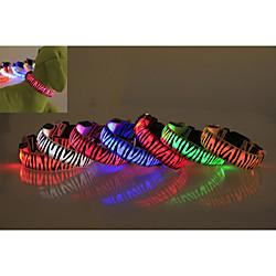'Dog Collar Waterproof Led Lights Zebra Nylon White Yellow Red Blue Pink Miniinthebox