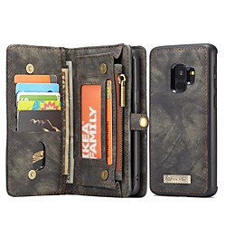 CaseMe Case For Samsung Galaxy S9 Wallet / Card Holder / with Stand Full Body Cases Solid Color Hard Genuine Leather miniinthebox