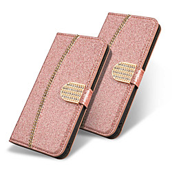 Phone Case For Huawei Full Body Case Wallet Card Huawei P30 Huawei P30 Pro Huawei P30 Lite Huawei Mate 20 lite Huawei Mate 20 pro Huawei Mate 20 Wallet Card Holder Rhinestone Solid Colored Glitter miniinthebox