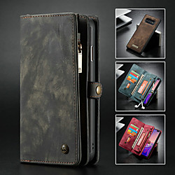 Caseme Case For Samsung Galaxy Galaxy S10 Wallet / Card Holder / with Stand Full Body Cases Solid Colored Hard PU Leather miniinthebox