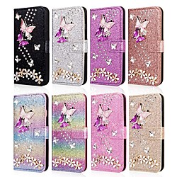 Phone Case For Samsung Galaxy Full Body Case Leather Wallet Card Note 9 Note 8 Wallet Card Holder Rhinestone Butterfly Glitter Shine Hard PU Leather miniinthebox