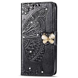Phone Case For Samsung Galaxy Full Body Case Leather A7 A10 A30 A50 A20 A40 A90 A70 Galaxy A2 Core Galaxy A20e Wallet Card Holder Rhinestone Butterfly Flower / Floral Soft PU Leather miniinthebox