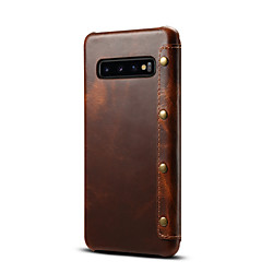 Phone Case For Samsung Galaxy Full Body Case Leather S9 S9 Plus S8 Note 9 Note 8 S10 S10  Galaxy S10 E Card Holder Solid Color Genuine Leather miniinthebox