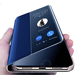 Mirror PU Leather Phone case For Huawei P20 Lite P30 Pro Lite Flip Protective Cover for Huawei Mate 10 20 30 Lite Pro Y9 2019 Sleep wake View Clear View Standing Luxury Smart Mirror Flip Cover miniinthebox