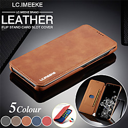 lc.imeeke Leather Magnetic Flip Wallet Phone Case for Samsung Galaxy S21 Ultra S20 Plus A51 A71 Card Slot Holder Stand Case for Samsung Galaxy A70 A50 A40 A30 A20 A20e Note 20 10 Pro Note 9 Note 8 miniinthebox