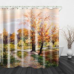 Maison et jardin Peinture à l'huile beau paysage impression numérique tissu imperméable rideau de douche pour salle de bain décor à la maison couvert baignoire rideaux doublure comprend avec crochets