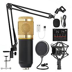 Image of bm 800 kit microfono da studio con filtro v8 scheda audio condensatore microfono bundle record ktv microfono karaoke per smartphone