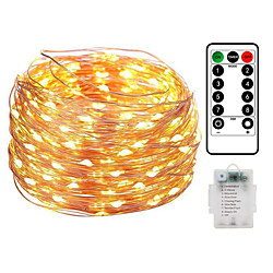 10M 100LED Waterproof Remote Control 8 Function Copper Wire LED String Lights Outdoor String Lights AA Battery-Powered Fairy Light Christmas Wedding Birthday Family Party Room Decoration Without Batte miniinthebox