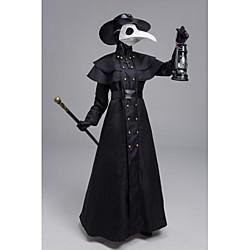 'Plague Doctor Punk  Gothic Steampunk 17th Century Coat Trench Coat Men's Rivet Costume Black Vintage Cosplay Halloween Masquerade Long Sleeve Sheath / Column / Gloves / Mask / Hat / Waist Belt