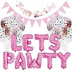 23pcs/set pet party decoration kit dog cat lets pawty balloons birthday banners party supplies miniinthebox