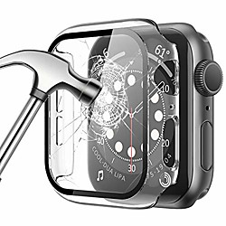'[2 Pack] Case For Apple Watch 44mm 40mm 42mm 38mm Series Se 6 5 4 3 2 1 Built-in Tempered Glass Screen Protector Ultra-thin Full Cover Protective Hard Pc Bumper Case For Iwatch Series Miniinthebox