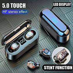 'Wireless Bluetooth Earphone  V5.0 F9-8 Tws Wireless Bluetooth Headphone Led Display 2000mah Charging Box Headsets With Cvc8.0 Noise Reduction Microphone