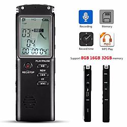 Image of Registratore vocale da 32 gb, microfono incorporato, microfono incorporato, lettore mp3, registratore audio digitale, registratore di interviste con wavmp3