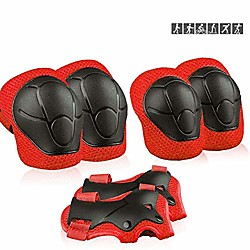 kids sports protective gear, children knee pads elbow pads wrist guards set for skating cycling bike and other outdoor sports (red) miniinthebox