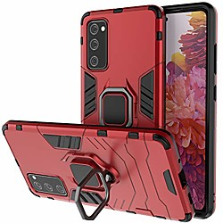 kickstand case for samsung galaxy s20 fe,heavy duty full body protective samsung s20 fe 5g case with ring,360°rotatable ring hard magnetic case for samsung s20 fe 2020 6.5 inch-red miniinthebox