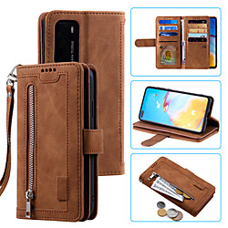 Phone Case For Huawei Full Body Case Leather HUAWEI P40 HUAWEI P40 Pro Huawei P30 Huawei P30 Lite P40 lite Shockproof Solid Colored PU Leather miniinthebox
