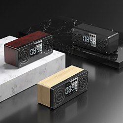 Image of a10 legno altoparlante bluetooth 5.0 altoparlante esterno portatile subwoofer soundbar supporto display a led tf usb aux fm sveglia personalizzata