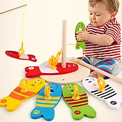 'Wooden Montessori Colorful Fishing Digital Column Game Early Educational Toys Bath Time For Kids Toddler Baby Boys Girls, Bath Tub Spoon - 1#