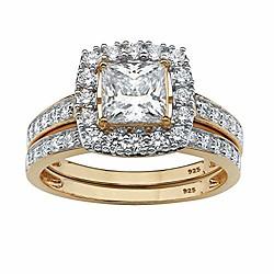 '18k Yellow Gold Over Sterling Silver Princess Cut Cubic Zirconia Halo Bridal Ring Set Size 9 Miniinthebox